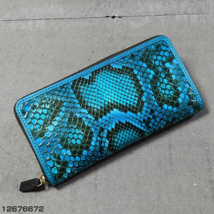 クローナ イタリア製 モラレス パイソン ラウンドファスナー 長財布 ターコイズブルー 12676672
