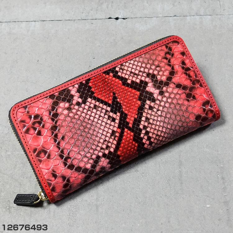 クローナ イタリア製 ダイヤモンド パイソン ラウンドファスナー 長財布 レッドピンク 12676493